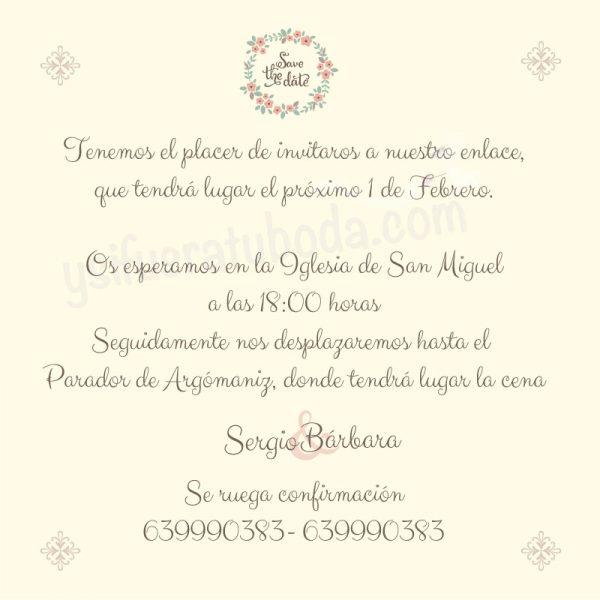 Invitación de boda minimalista Save the date parte trasera