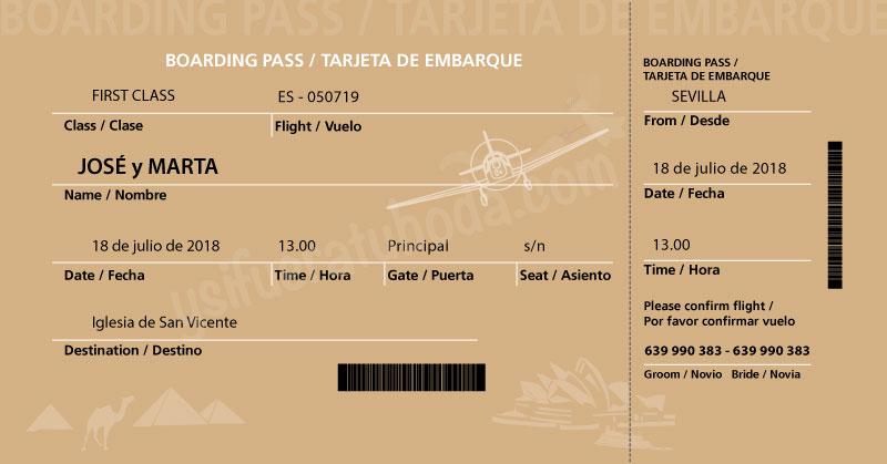 invitación de boda tarjeta de embarque