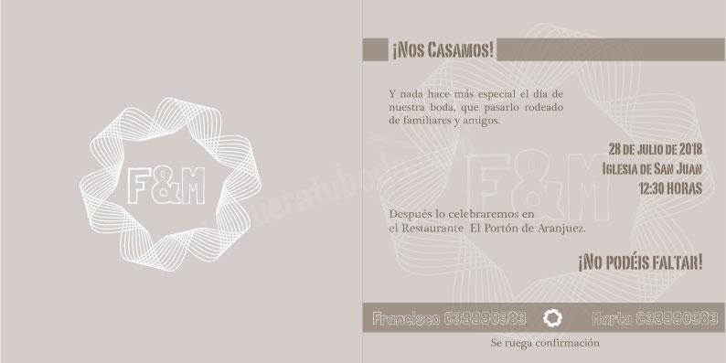 invitación de boda minimalista con greca interior